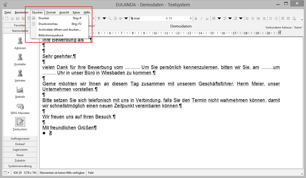 EULANDA® Software - Wordprocessor